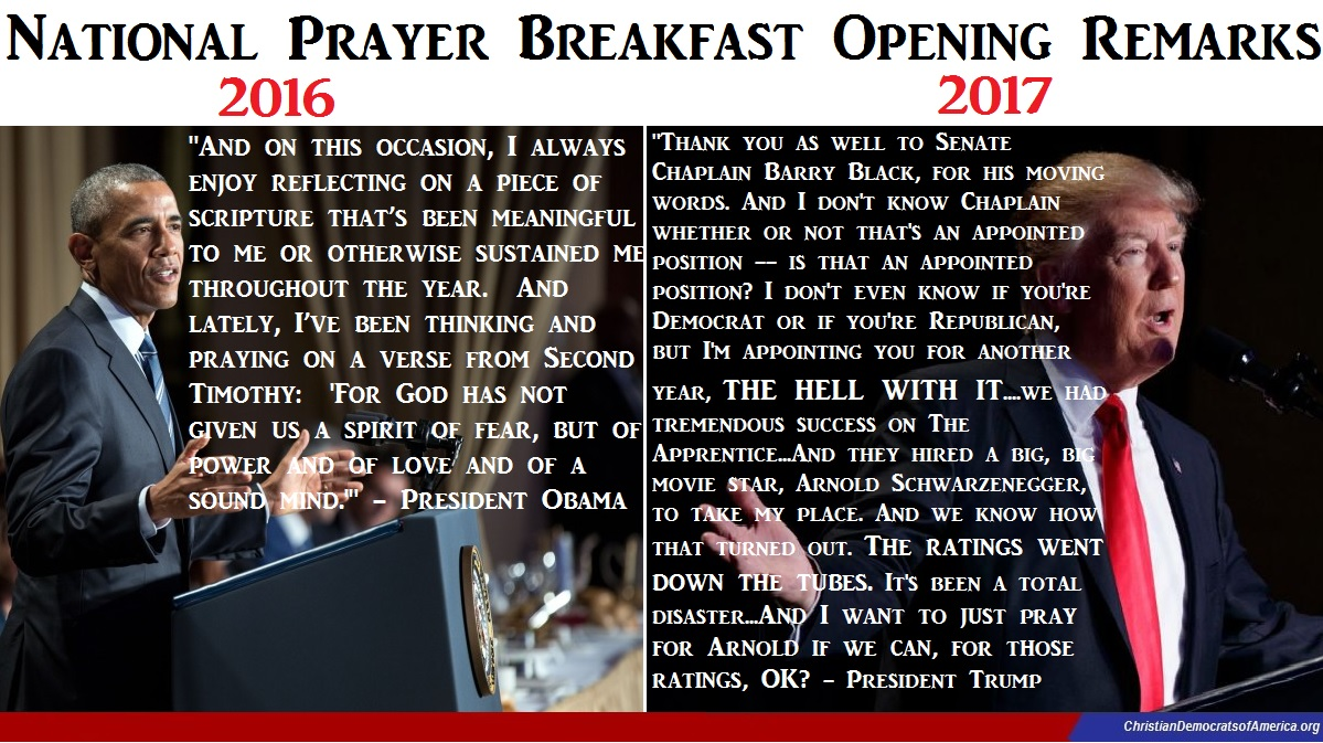 National Prayer Breakfast With Obama in 2016 Compared to